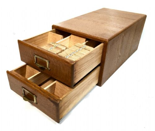 Vintage Wooden Oak Index Card Collectors Cabinet / Box / Photo Slides / Antique